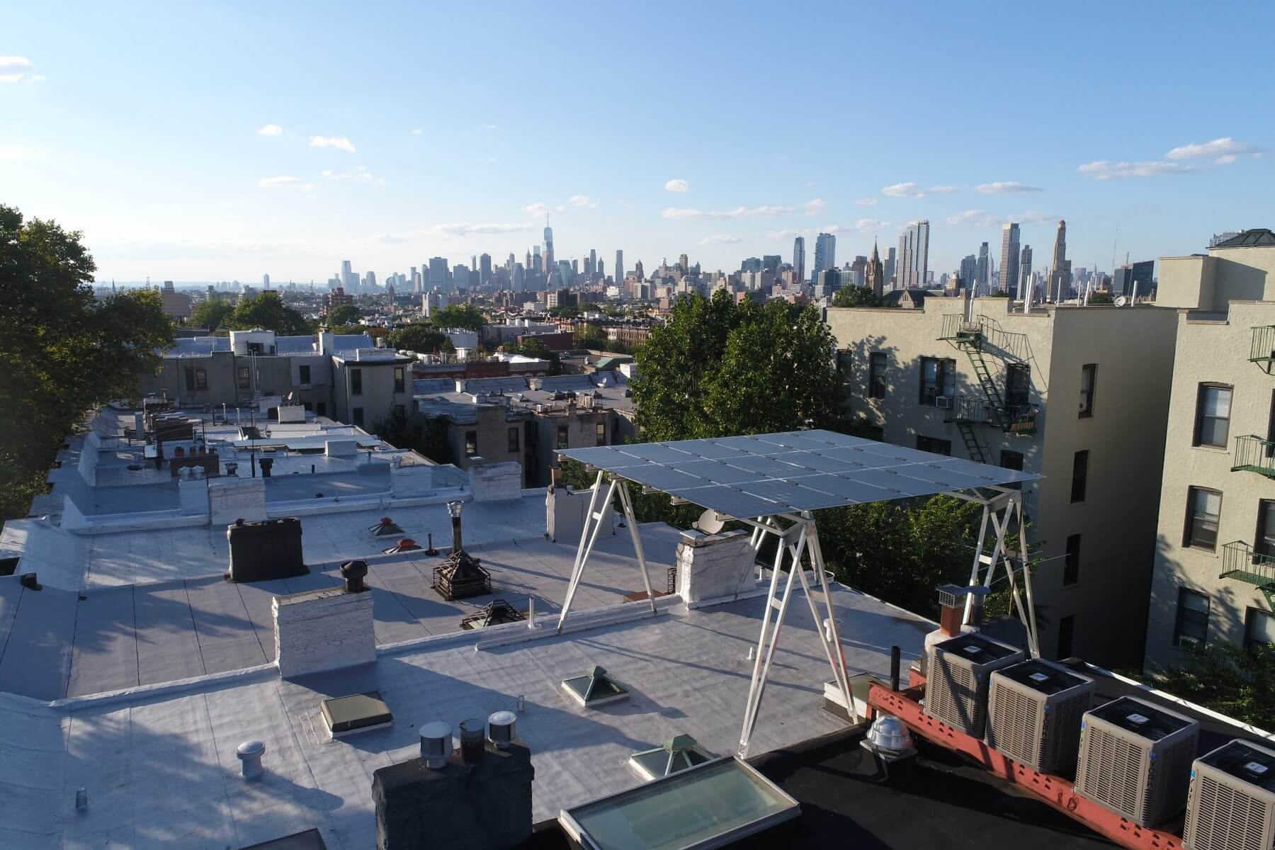 Rooftops with solar panels