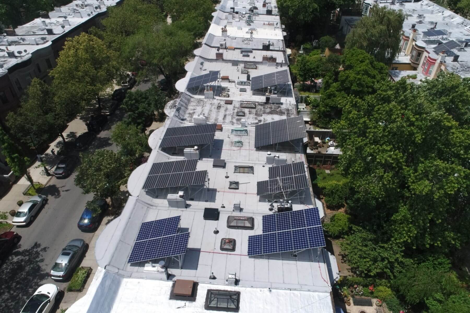 Solar systems installed on landmarked homes in Prospect Lefferts Gardens.
