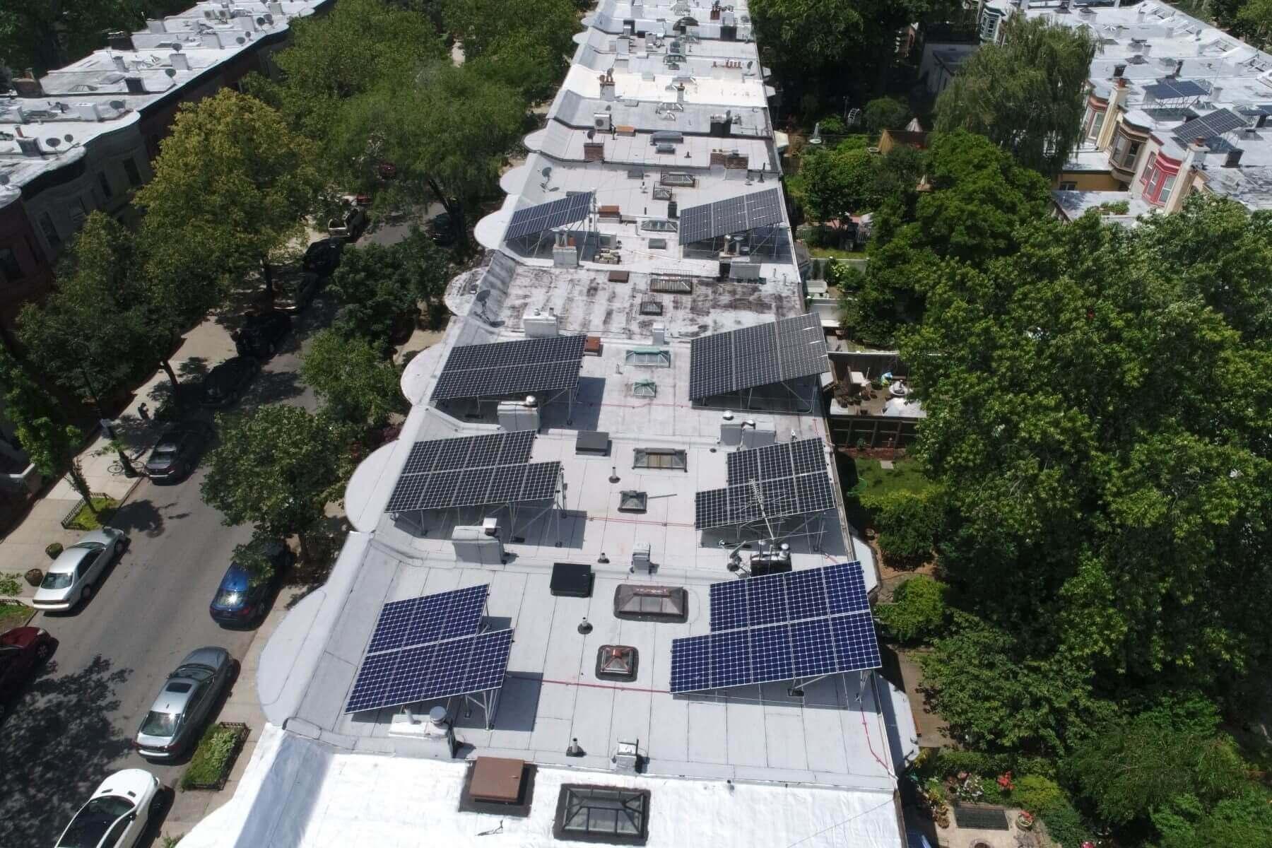 Solar systems installed on landmarked homes in Prospect Lefferts Gardens.