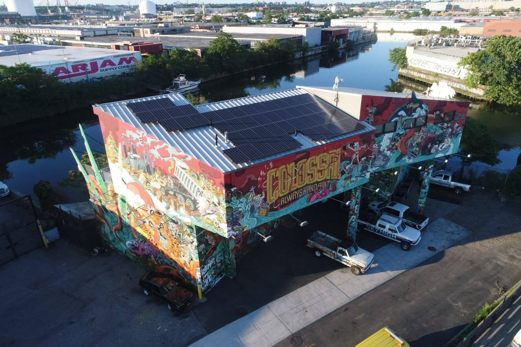 A 16 KW solar array on Colossal Media Group's Newtown Creek shop in Williamsburg.