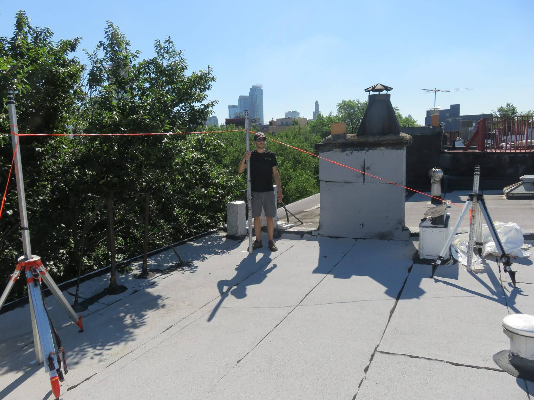 A BSW surveyor conducting a landmarks visibilty test