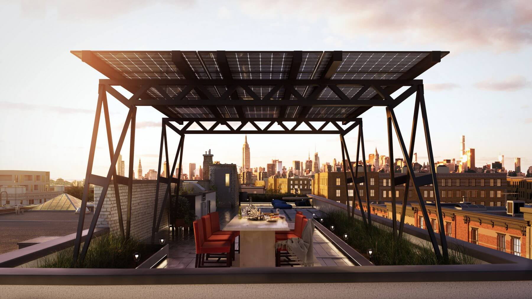 Canopies are an ideal way to shelter and shade rootop decks and amenity spaces.